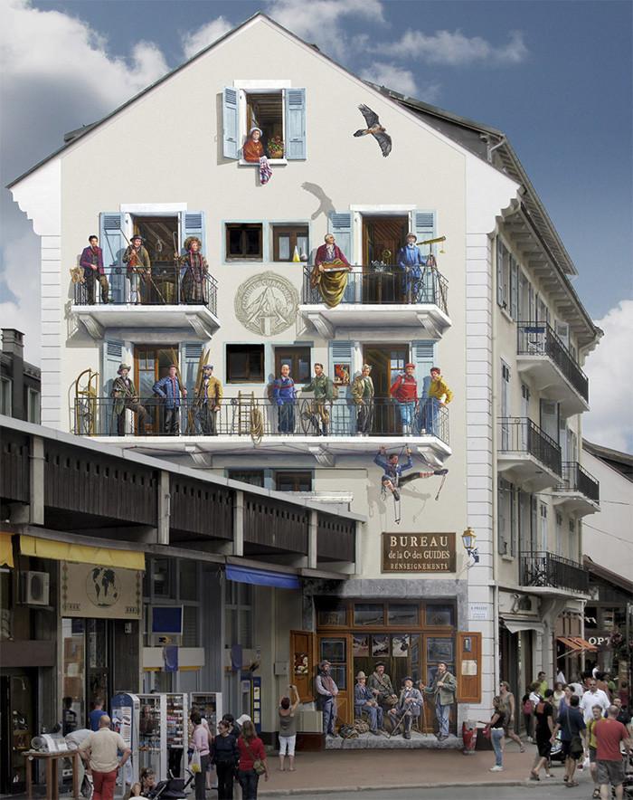 Французский художник Patrick Commecy превращает скучные стены произведения искусства.